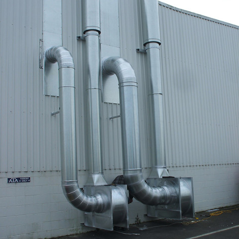 Extraction fans from a centralised system from a training centre mounted complete with vertical discharge.