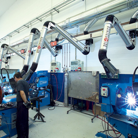 Articulated welding fume extraction arms by AER Service, Italy.