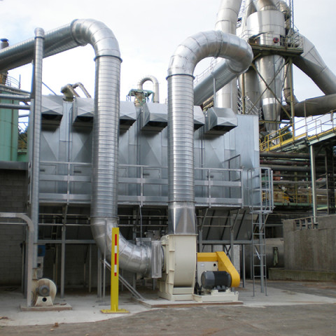 Industry: Particale Board Plant<br /> Filter System Type: Bag filter, reverse Clean<br /> Type of Dust: Fines, wood fibre<br /> Air Volume: 35,000 m3/h