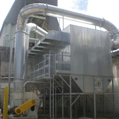 Industry: Paricale Board Plant<br /> Filter System Type: Bag filter, reverse Clean<br /> Type of Dust: Fines, wood fibre<br /> Air Volume: 35,000 m3/h