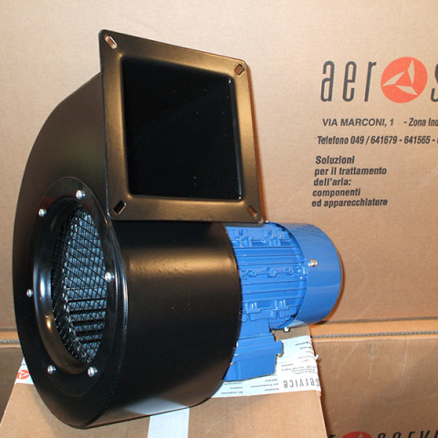 Extraction fan for wall mounted fume arm.