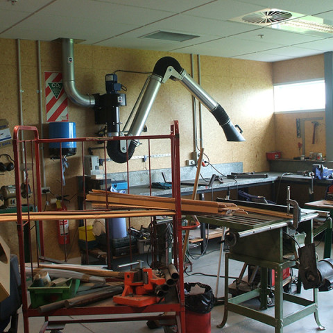 Typical maintenance engineers workshop fitted with 3m extraction arm and fan ducted to the outside atmosphere.