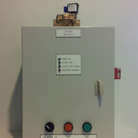 Spray booth control panel. Comes with purge cycles, spray gun interlock and fan DPS switch to AS/NZ 4114.