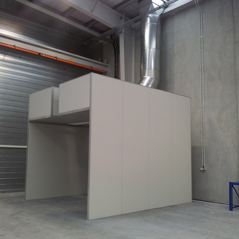 4m x #m high open-face spray booth with crane slot for heavy product spraying.