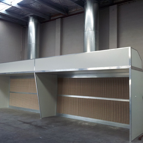 Double open-faced production preparation or spraying booths.