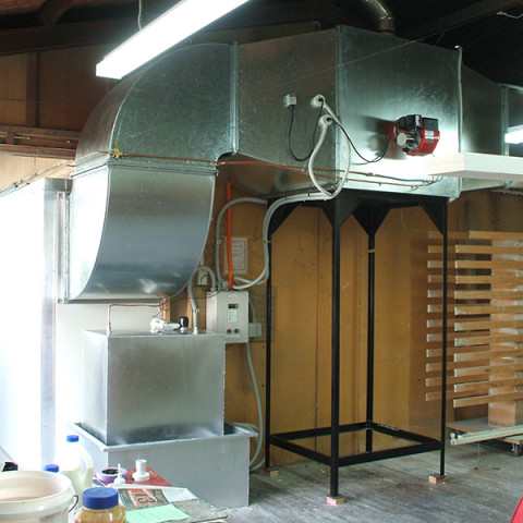 Retrofit heated supply air systems to existing spray booths. Diesel oil and natural gas fired turnkey systems.