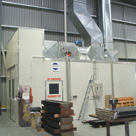 Industrial heated spray booths for all industries. Heated spray temperatures, bake temperatures to 90°C. Manufactured to AS/NZ 4114.