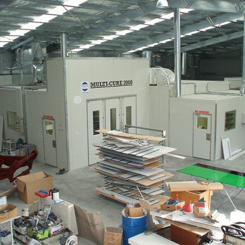 Full production shops - booths, drying rooms, prep centres and paint mixing room. Internal access between all systems. Manufactured to AS/NZ 4114.