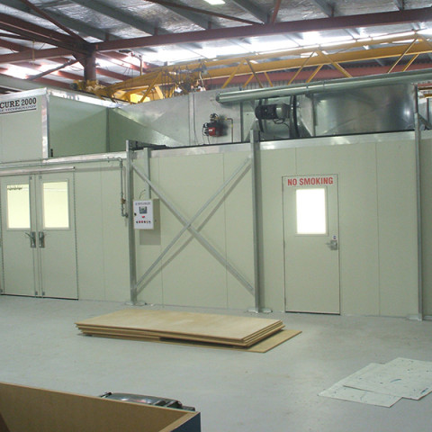 Heated spray and bake booths with side loading features. Alloy Yachts marine application.