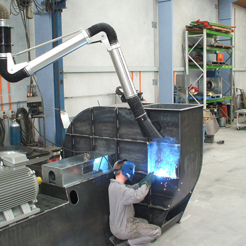 3m articulated extraction arm mounted on 3m boom in Viking's workshop. Tenix NZ.
